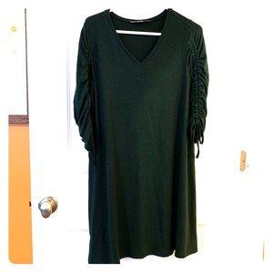 Loft v-neck, ruched sleeve sweater dress